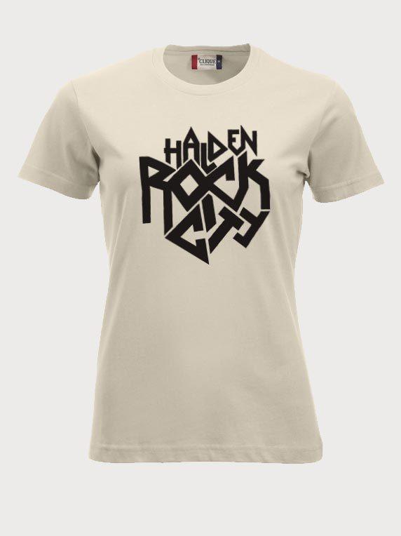 Beige T-skjorte med Halden Rock City-emblem
